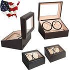 Luxury 4+6 Automatic Rotation Leather Wood Watch Winder Storage Display Case Box