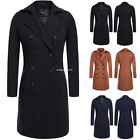 Double Breasted Women Wool Jacket Trench Coat Long Parka Turn Down Collar