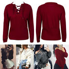 Fashion Womens Lace-up Long Sleeve Hoodie Jumper Pullover Sweatshirt Tops Shirt