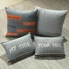 DEXTER SLOGAN FILLED CUSHION BOUDOIR BED SCATTER CUSHION ORANGE GREY
