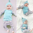 Newborn Infant Baby Boy Girl Kids T-Shirt Trousers Hat Outfits 3pcs Clothing Set
