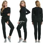 Women Velour +Pant Tracksuit Sport Yoga Running Suit Set Winter Solid New S0BZ