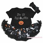 MY 1ST Halloween Pumpkin Black Bodysuit Girls Ghost Cat Baby Dress Outfit NB-18M