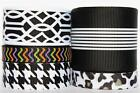 "5Yd Mix Lot - Size Black Theme 3/8"", 5/8"", 7/8"" & 1.5"" Grosgrain Ribbon G461"