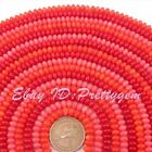 """4x6mm Natural Coral Rondelle Smooth Gemstone For Jewelry Making Beads Strand 15"""""""