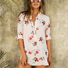 Fashion Print Sleeve Ladies Women Floral Shirt Blouse Casual Chiffon T Long Tops