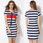 Women O-Neck Striped Patchwork Slim Elastic Comfy Casual Dress B20E