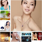 Women Fashion 925 Sterling Silver Crystal Pendant Necklace Chain Jewelry 16-26''
