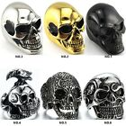 K 316L Stainless steel steam men punk ring gothic rings cool skull Men's Jewelry