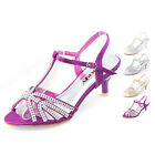 Womens Low Kitten Heels Shoes Strappy Wedding Party Sandals Size Bridal Fashion