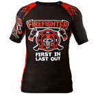 """RASH GUARD RASHGUARD FIREFIGHTERS """"FIRST IN LAST OUT"""" GYM TRAINING UNDER ARMOUR"""