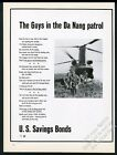 1967 Vietnam War Da Nang patrol US Army soldiers helicopter photo US Bonds ad