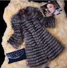 Women's 100% Fox Fur Coat Fur Vest Women Fur Top Experience Striped S/M/L/2XL