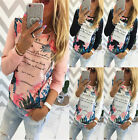 Women Ladies Casual Floral Print Shirt Long Sleeve Cotton Blouse Tops T-shirt YG