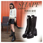 New Fashion Womens Ankle Boots Lace Up Punk Rivet Motorcycle Military Boots