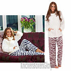 Ladies Zebra Print Sherpa Fleece Twosie Pyjama Top/Bottoms Pyjamas Size 8 - 22