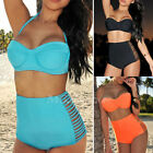 Womens Vintage High Waisted Bikini Set Neon Color Swimwear Swimsuit UK Size 6-18