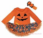 Halloween Orange L/S Bodysuit Girl Pumpkin Face Spider Web Baby Dress Set NB-18M