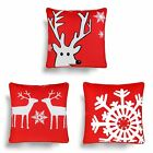 "CHRISTMAS CUSHION COVERS FESTIVE REINDEER NORDIC SNOWFLAKE CUSHIONS 18"" x 18"""
