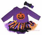 Pumpkin Halloween Purple Cotton L/S Bodysuit Girl Striped Baby Dress Set NB-18M
