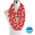 RED SNOWMAN DESIGN INFINITY SCARF JERSEY CHIFFON FASHION LOOP SCARVES
