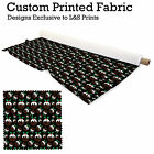 BLACK CHRISTMAS PUDDING DESIGN FABRIC LYCRA SPANDEX POLYESTER ALOBA CHIFFON