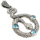 NATURAL BLUE TOPAZ ROUND CUT 925 STERLING SILVER SNAKE PENDANT JEWELRY A20055