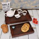 Handmade Wooden Trays Lattice Style Base Sheesham Solid Brown Wood 2 Sizes