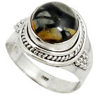 925 STERLING SILVER NATURAL BLACK PICASSO JASPER RING JEWELRY SIZE 7.5 J27616