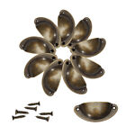 50Pcs Kitchen Cupboard Door Cabinet Cup Drawer Shell Pull Iron Handle Bronze