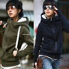 Women High Hooded Coat Long Sleeve Pullover Encase Finger Sweatshirt Jacket