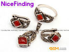 Fashion Jewerly Sets Red Agate Tibetan Silver Rings Earrings Pendant Women Gifts