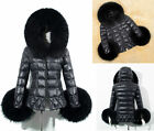 Fashion Women's Faux Fox Fur Down Jacket Coat Ladies Hooded Padded Black Outwear
