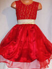 GIRLS RED GOLD GLITTER PRINT SATIN TULLE PRINCESS PROM BALLGOWN PARTY DRESS