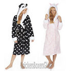 Womens/Ladies Rabbit/Panda Hooded Fleece Dressing Gown/Robe NEW Size S M L