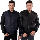 Mens Bomber Jacket PU Leather Double Zip Up Coat By Loyalty & Faith Size S-XL