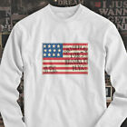 Vintage American Flag Classic NY Hipster Mens White Long Sleeve T-Shirt