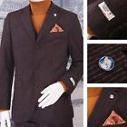 Maddox Street Slim Fit Three Button 3 Piece Mod Prince Of Wales Suit Burgundy