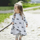 Kids Baby Girl Clothes Cotton Black Mouse Print Long Sleeve Dress Clothing Tops