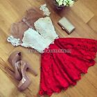 Fashion Women Summer Short Sleeve Lace Party Evening Cocktail Short Mini Dress