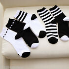 2 Pairs Women's Soft Cotton Black White Striped Casual Ankle Sock Winter Socks