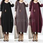 S-5XL ZANZEA Damen Winter Autumn Casual Lose Pockets Long Maxi Dress Kaftan Robe