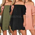 34-46 ZANZEA Damen Off Shoulder Carmen Casual Lose Long Tops Mini Shirt Dress