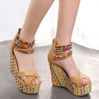 Fashion Bead Chunky Wedge Shoes Platform Block Zipped Sandals Women High Heels