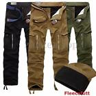 Herren Vintage Thermohose Cargo Fleecefutter Winter Hose Fleece Warm Gefüttert