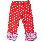 Girls Red Polka Dots White Ruffle Icing Leggings Pants