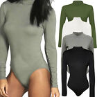 Womens Ribbed Long Sleeve Playsuit Ladies Bodysuit Leotard Tops Jumpsuits