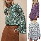 Vintage Style Floral Bell Sleeve Women's Button Down Shirt Garden Blouse Top