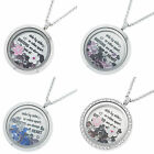 1x Stainless Steel Sister Family Floating Locket Crystals Charm Necklace Pendant