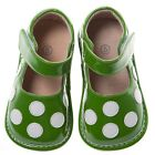 Discontinued Toddler Girl's Leather Squeaky Shoes Green Patent with White Dots